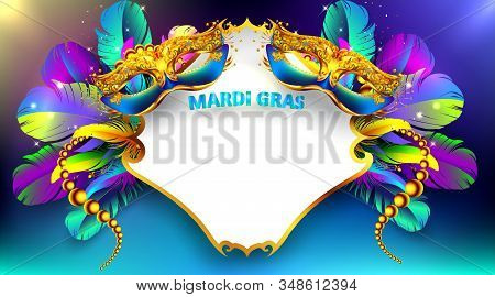 Mardi Gras Carnival Mask Poster Background With Copy Space For Text. Bokeh Effect For Celebration Gr