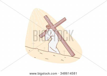 Jesus Christ, Bible, Religion, Christianity, Concept. Jesus Carrying Cross. Road To Calvary. Messiah
