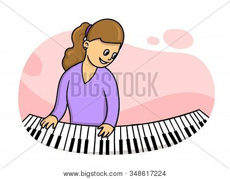 Woman In Purple Dress Playing The Piano.music Teacher Practising. Flat Vector Illustration, Isolated