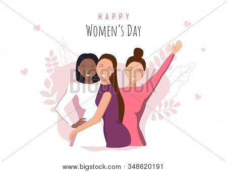 Happy women's day holiday illustration. March 8 holiday, International Womens Day holiday. Happy girls hugging. African american woman. Women's day background, women's day banner. Love between the girls. 8 march, womans day. Vector illustration
