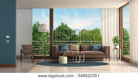 Minimalist Living Room Of A Modern Villa With Leather Sofa And Armchair - 3d Rendering