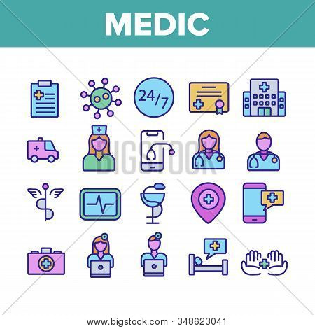Medic Doctor And Nurse Collection Icons Set Vector. Hospital And Medic Case, Medical Diploma And Doc