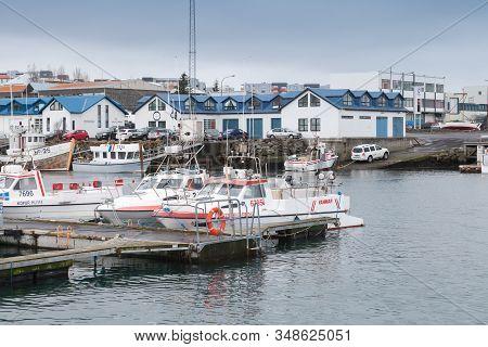 Reykjavik, Iceland - April 4, 2017: Icelandic Marina With Moored Motor Boats