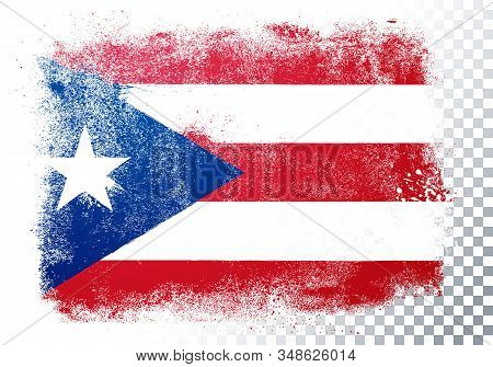 Vector Illustration Isolated Flag Of Puerto Rico In Grunge Texture Style.