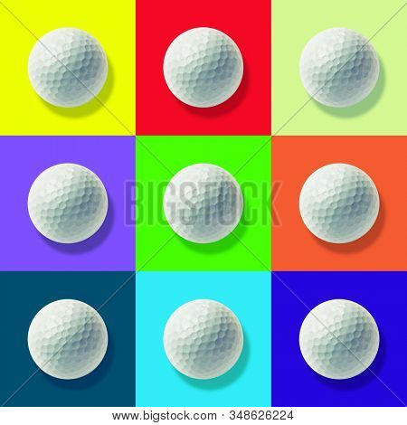 Golf balls on coloured backgrounds