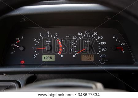 Vintage Retro Car Dashboard With Analog Speedometer, Tachometer And Odometer, Handmade For Restorati