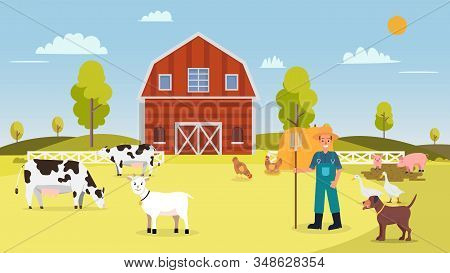 Nature Farm With Animal In Summer.farm With Cows ,hen, Goose, Duck, Pig, Dog, Goat, Barn , Farmer An