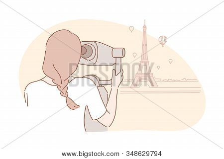 Sightseeng, Travel, Tourism Concept. Young Adventurous Woman Traveller Looks At Eiffel Tower. Girl T