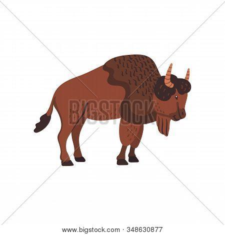 Extinct Animals. Ancient Bison. Prehistoric Extinct American Bison. Flat Style Vector Illustration I