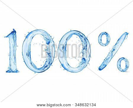 Number 100 And Percent Sign Made With A Splash Of Water, Isolated On A White Background. 3d Illustra