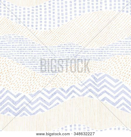Seamless Wavy Pattern In Patchwork Style. Cute Doodle Hand-drawn Ornament. Grunge Texture. Ethnic An