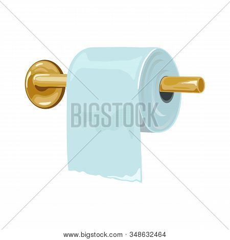 Yellow Metal Toilet Paper Holder Attached To Wall And Roll. Bathroom, Lavatory, Cloakroom Or Toilet