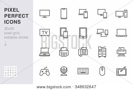 Devices Line Icons Set. Computer, Laptop, Mobile Phone, Fax, Scanner, Smartphone Minimal Vector Illu