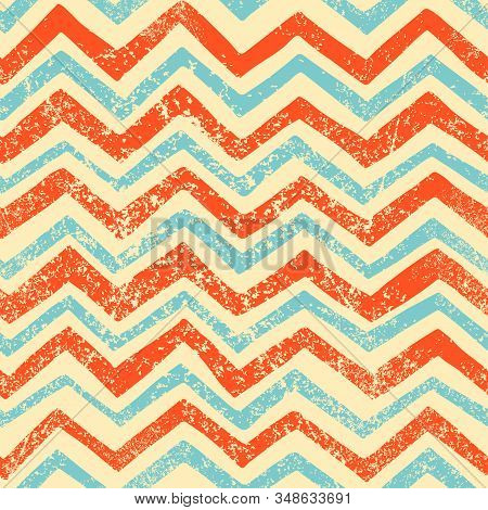 Seamless Striped Wavy Pattern. Zigzag Brush Ornament. Cute Simple Background For Textile, Wrappers,