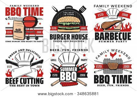 Barbecue Summer Party, Summer Holiday Picnic And Cookout Icons. Vector Bbq Charcoal Grill Meat Steak