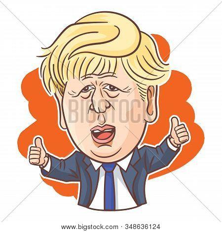 London, Uk, 31 Jan, 2020, Boris Johnson Vector Caricature For Brexit Promise