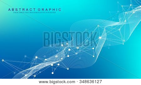 Abstract Plexus Background With Connected Lines And Dots. Molecule And Communication Background. Gra