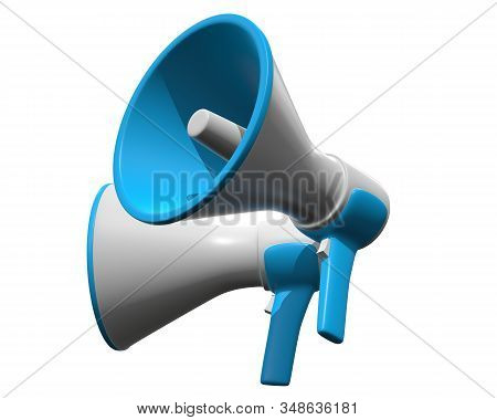 Megaphone Or Bullhorn For Amplifying Voice For Protests Rallies Or Public Speaking. 3d Render Isolat