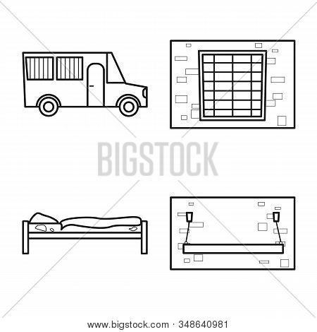 Vector Design Of Jail And Law Symbol. Collection Of Jail And Crime Stock Symbol For Web.