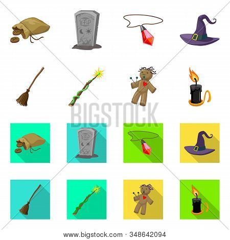 Isolated Object Of Witchcraft And Mystic Logo. Set Of Witchcraft And Magic Stock Symbol For Web.