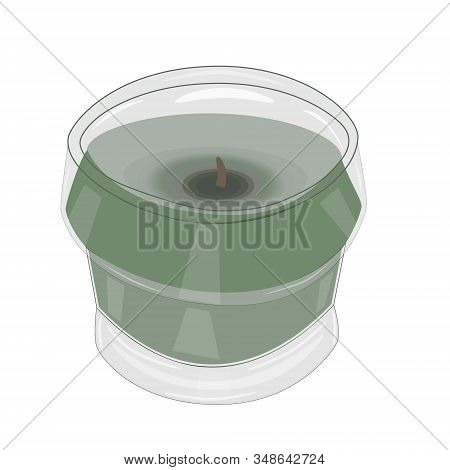 Scented Citronella Candle Isolated On White Background. Mosquito Repellent Citronella Glass Candle.