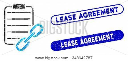 Mosaic Blockchain Contract And Corroded Stamp Seals With Lease Agreement Caption. Mosaic Vector Bloc