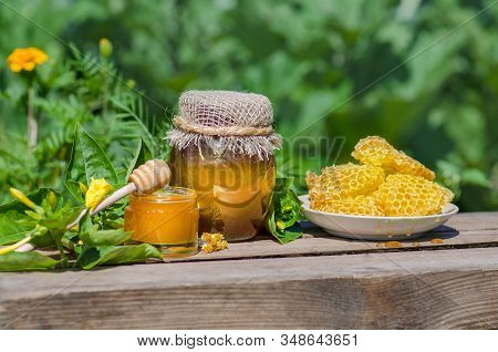 Honey In Jar With Honey Dipper At The Nature Background