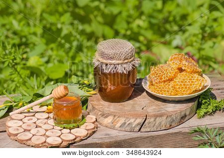 Different Kinds Of Honey On Wooden Background. Healthy Organic Honey