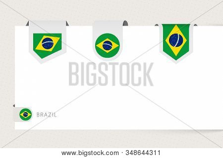 Label Flag Collection Of Brazil In Different Shape. Ribbon Flag Template Of Brazil Hanging From Pape
