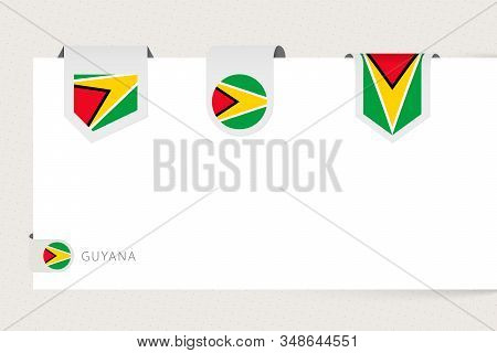 Label Flag Collection Of Guyana In Different Shape. Ribbon Flag Template Of Guyana Hanging From Pape