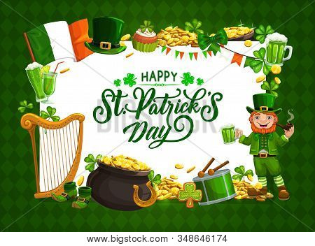 Happy St Patrick Day Calligraphy In Ireland Celtic Luck Symbols Frame. Vector Saint Patrick Day Cele