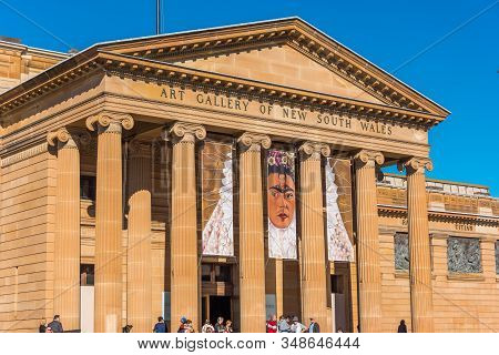 Sydney, Australia - July 3, 2016: Art Gallery Of Nsw With Banner Of Frida Kahlo Exhibition On Its Fa