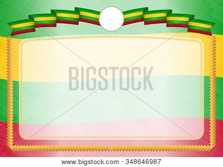 Border Made With Sao Tome And Principe National Flag. Brush Stroke Frame. Template Elements For Your