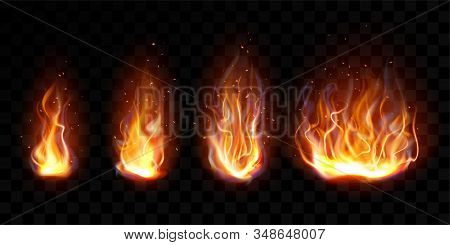 Realistic Fire, Torch Flame Set Isolated On Transparent Background. Burning Campfire Or Candle Blaze
