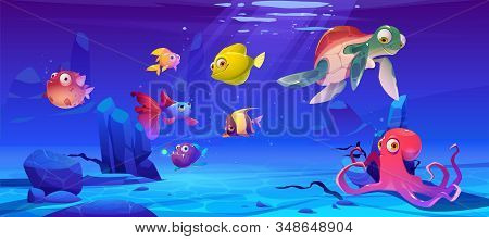 Underwater Sea Life. Vector Cartoon Illustration Of Ocean Animals And Fish. Undersea Landscape With