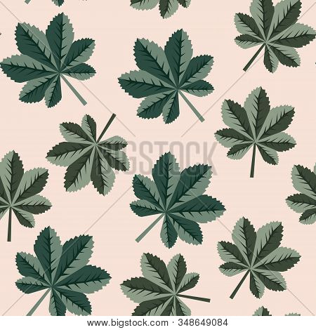 Floral Seamless Pattern With Small Green Leaves On Light Background. Vector Illustration For Wallpap