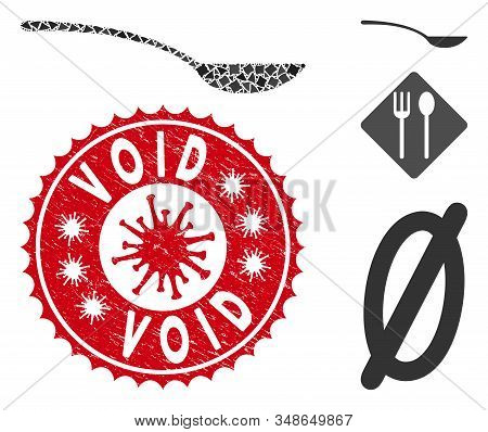 Mosaic Empty Spoon Icon And Red Rounded Distressed Stamp Seal With Void Text And Coronavirus Symbol.