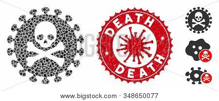 Mosaic Death Virus Icon And Red Round Distressed Stamp Seal With Death Caption And Coronavirus Symbo