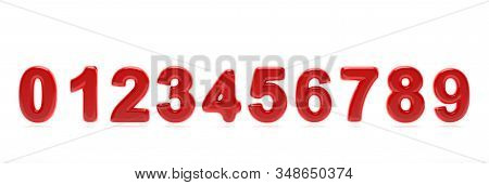 Numbers Collection From 0 To 9. Glossy, Inflated And Passion Red Color Balloon Of Numeral Set 0 To 9