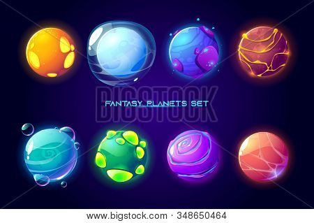 Fantasy Space Planets For Ui Galaxy Game. Vector Cartoon Icons Set Of Magic Alien World, Fantastic C