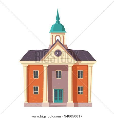 Urban Retro Colonial Style Building Cartoon Vector Illustration. Old Residential Or Government Build