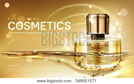 Oil Perfume Bottle With Gold Liquid On Blurred Sparkling Background. Scent Glass Tube Package Design