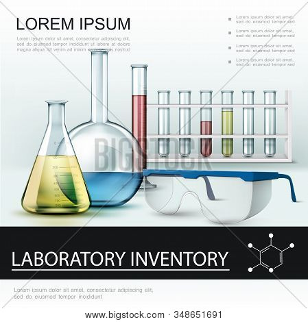Realistic Laboratory Inventory Poster With Test Tubes Flasks And Protective Glasses Vector Illustrat