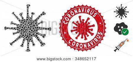 Mosaic Coronavirus Icon And Red Rounded Grunge Stamp Seal With Coronavirus Text And Coronavirus Symb