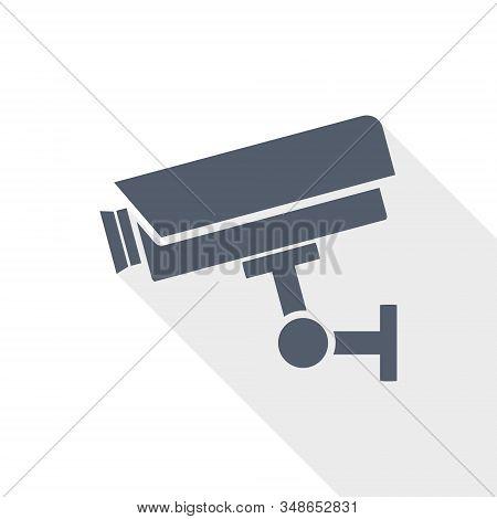 Cctv Camera Flat Design Vector Icon On White