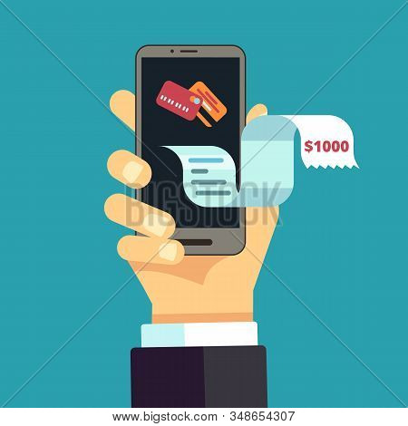Electronic Invoice. Mobile Receipt, Online Bill. Digital Financial Expense Transfer. Vector Hand Hol