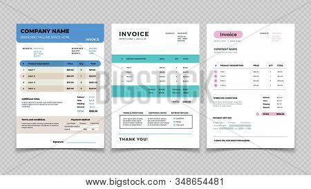 Invoice Template. Bill Receipt Design, Quotation Invoicing And Sale. Customer Order Agreement Form V