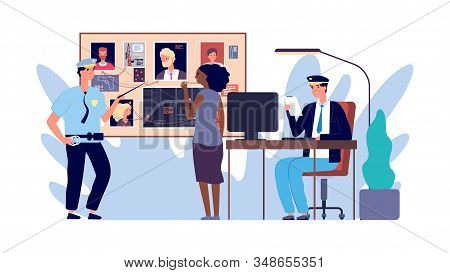 Police At Work. Investigator, Detectives Investigating Crime. Identification Criminal Vector Illustr