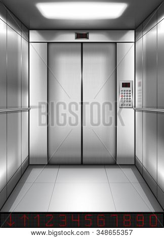 Realistic Elevator Cabin With Closed Doors Inside View. Empty Lift Interior With Chrome Metal Button