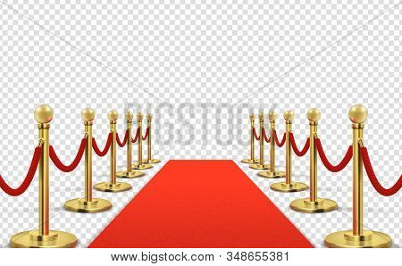 Red Carpet. Isolated Empty Red With Gold Stanchions. Concert Barriers, Vip Celebrity Event Entrance.